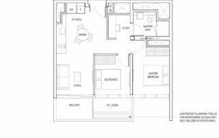 Type B2 2 Bedroom + Study